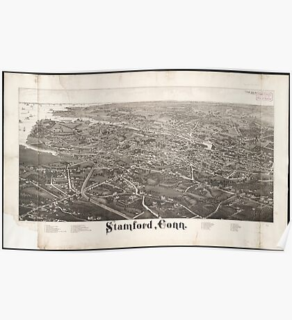 Vintage Pictorial Map of Stamford CT (1883) Poster