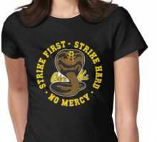 Cobra kai - Strike First Strike Hard No Mercy (Gold Variant) Womens Fitted T-Shirt
