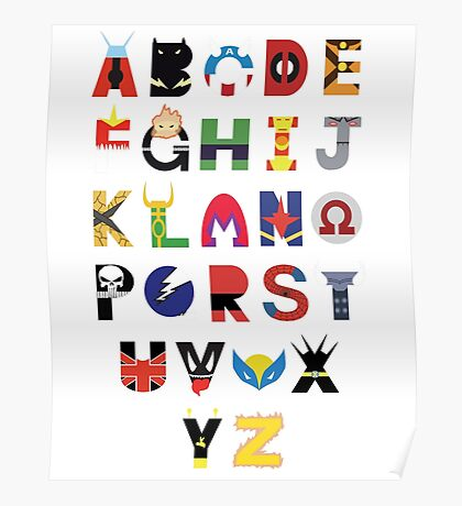 Marvel Superhero Alphabet Poster