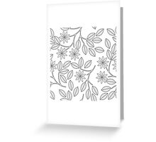 Seamless pattern with decorative leaves, flowers and lines isolated on white background Greeting Card
