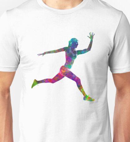 Woman runner running jumping Unisex T-Shirt