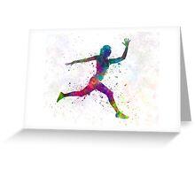 Woman runner running jumping Greeting Card
