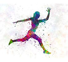 Woman runner running jumping Photographic Print
