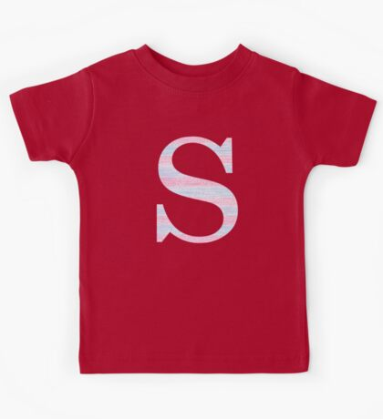 Letter S Blue And Pink Dots And Dashes Monogram Initial Kids Tee