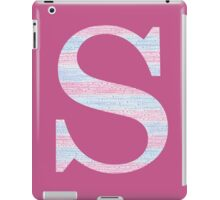 Letter S Blue And Pink Dots And Dashes Monogram Initial iPad Case/Skin