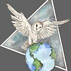 Owl with Earth  by BeeHappyShop