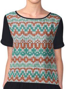 Green and orange knitting pattern. Seamless winter ornament background. Chiffon Top