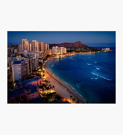 Waikiki Beach and Honolulu Skyline, Hawaii Photographic Print