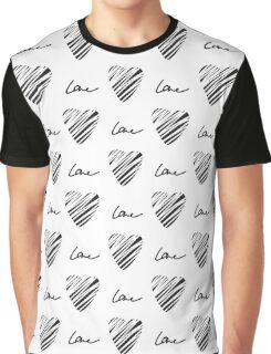 Grunge heart seamless pattern. Simple seamless monochrome wallpaper. Hand drawn background. Graphic T-Shirt