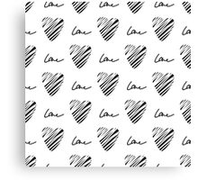 Grunge heart seamless pattern. Simple seamless monochrome wallpaper. Hand drawn background. Canvas Print