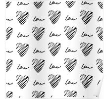 Grunge heart seamless pattern. Simple seamless monochrome wallpaper. Hand drawn background. Poster