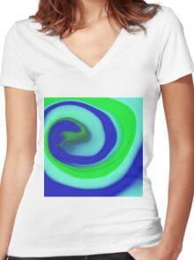 Abstract spiral Women's Fitted V-Neck T-Shirt