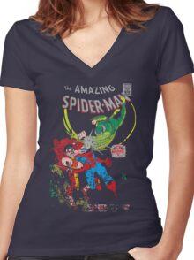 Spider-Man vs Vulture & Kraven The Hunter Women's Fitted V-Neck T-Shirt