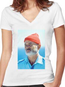 Bill Murray as Steve Zissou  Women's Fitted V-Neck T-Shirt