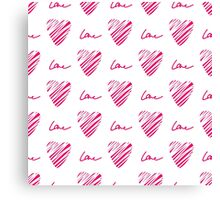 Red heart seamless pattern. Simple seamless monochrome wallpaper. Hand drawn background.  Canvas Print