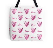 Red heart seamless pattern. Simple seamless monochrome wallpaper. Hand drawn background.  Tote Bag