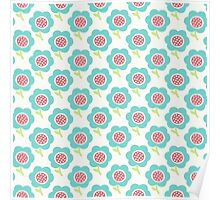 Simple baby pattern. Cute seamless wallpaper. Doodle little blue flower background. Poster