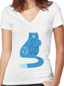Blue Moon Kitty Cat Women's Fitted V-Neck T-Shirt