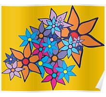 Retro Floral Pattern Poster
