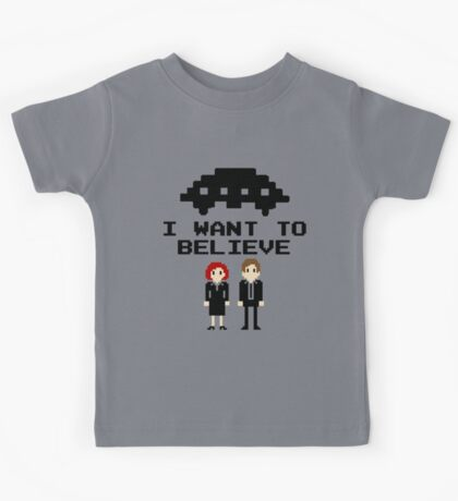 I Want To Believe 8bit Kids Tee