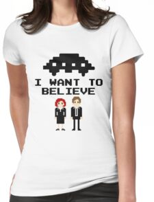 I Want To Believe 8bit Womens Fitted T-Shirt