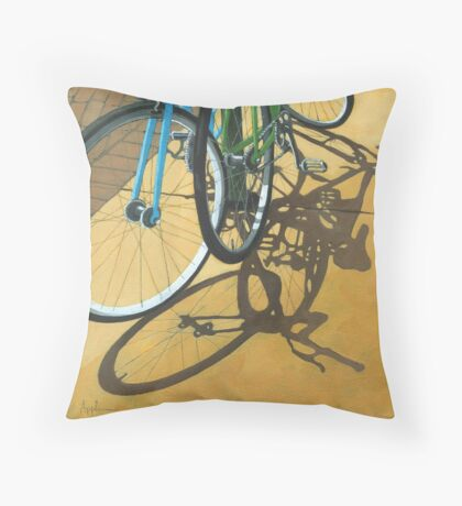 Out to Lunch - Bicycle art Throw Pillow