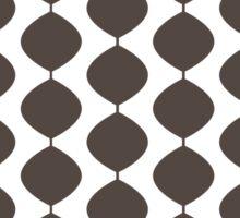 Eames Era Retro 60s Waves Pattern  (Dark Cool Brown) Sticker