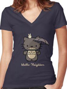 Hello Neighbor ! Women's Fitted V-Neck T-Shirt