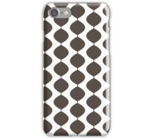 Eames Era Retro 60s Waves Pattern  (Dark Cool Brown) iPhone Case/Skin