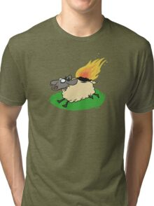 Flaming Sheep (White) Tri-blend T-Shirt