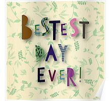 "Cool text,""Besets day ever"",colorful,fun,funny,floral,green,beige background Poster"