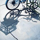 Empty Baskets - bicycle art oil painting by LindaAppleArt