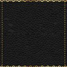 Black leather texture print gold accent by artonwear