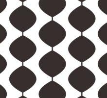Eames Era Retro 60s Waves Pattern  (Darker Cool Brown) Sticker