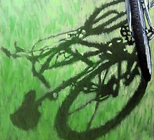 Go Green - bicycle art afternoon shadows oil painting by LindaAppleArt
