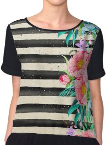 Modern stripes and tropical flowers hand paint Chiffon Top