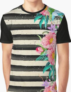 Modern stripes and tropical flowers hand paint Graphic T-Shirt