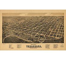 Vintage Pictorial Map of Texarkana (1888) Photographic Print
