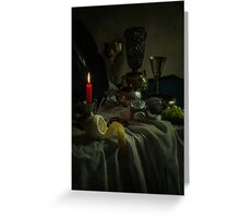 Still life with metal dishes, fruits and red candle Greeting Card