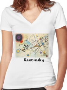 Kandinsky - Composition No. 8 Women's Fitted V-Neck T-Shirt