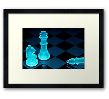 Chess pieces in blue light - Print Framed Print