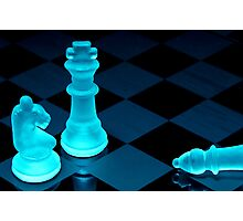 Chess pieces in blue light - Print Photographic Print