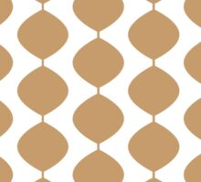 Eames Era Retro 60s Waves Pattern  (Pale Warm Brown) Sticker