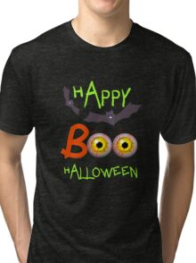 Happy Halloween Funny Spooky Scary Eyeballs Boo Tri-blend T-Shirt