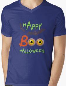 Happy Halloween Funny Spooky Scary Eyeballs Boo Mens V-Neck T-Shirt