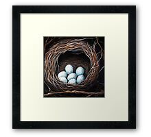 Bird Nest with eggs realistic still life nature art Framed Print