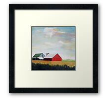 Country Farm Landscape rural Red Barn Framed Print