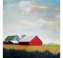 Country Farm Landscape rural Red Barn Photographic Print
