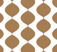 Eames Era Retro 60s Waves Pattern  (Light Warm Brown) Sticker