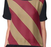 Boston Massachusetts Gold & Maroon Team Color Stripes Chiffon Top